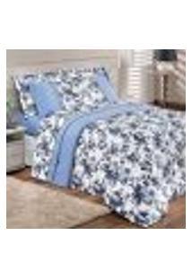 Kit Edredom Floral Azul King Size 3 Peças 2,80M X 2,60M Com 2 Porta Travesseiros