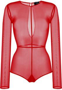 Ann Demeulemeester Body Slim Translúcido - Vermelho