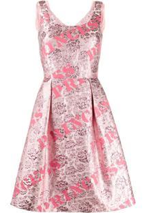 Moschino Vestido Evasê Com Estampa - Rosa