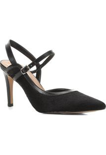 Scarpin Couro Shoestock Slingback Salto Alto - Feminino-Preto