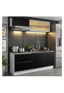 Cozinha Completa Madesa Lux Com Armário E Balcáo 5 Portas 2 Gavetas - Branco/Preto Branco