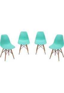 Kit 04 Cadeiras Eiffel Charles Eames Azul Tiffany F01 Com Base De Made