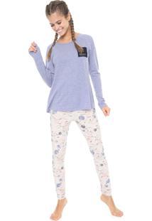 Pijama Espaço Pijama Estampado Azul/Rosa