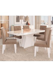 Conjunto De Mesa Olivia 180X90Cm Com 6 Cadeiras Nicole - Cimol - Branco / Pluma