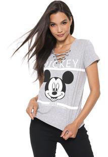 Blusa Cativa Disney Lace Up Mickey Cinza