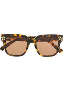 Stella Mccartney Eyewear Óculos De Sol Oversized Com Efeito Tartaruga - Marrom