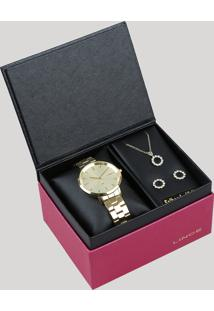 48e73d99f4e ... Kit De Relógio Analógico Lince Feminino + Brinco + Colar - Lrg617L C1Kx  Dourado - Único
