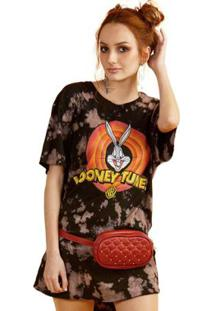 T-Shirt Feminina Looney Tunes Logo - Feminino-Preto