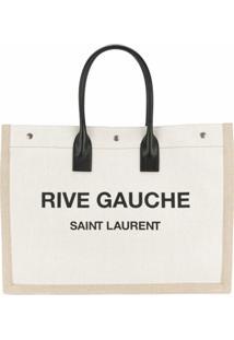 Saint Laurent Bolsa 'Rive Gauche' Com Logo - Neutro