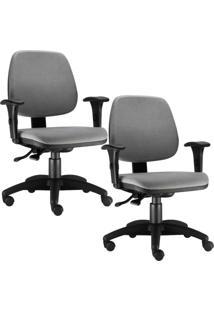 Kit Cadeiras Giratória Lyam Decor Job Cinza - Tricae