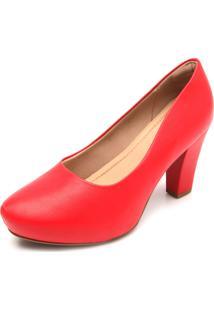 Scarpin Piccadilly Liso Vermelho