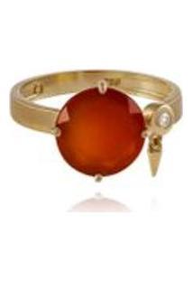 Anel Shapes Redondo Amarelo Com Calcedonia E Diamante Ttlb - 17