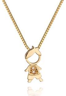 Pingente Menino Ouro Amarelo E Diamante 11 Mm