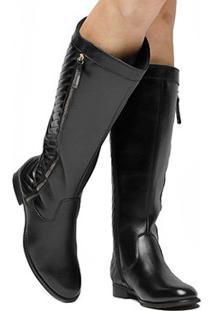 Bota Montaria Couro Shoestock Matelassê Feminina - Feminino-Preto
