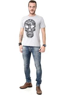 T-Shirt Opera Rock Caveira Camuflada Oprk Cinza
