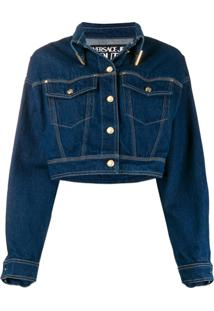 Versace Jeans Couture Jaqueta Jeans Cropped - Azul