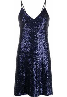 Norma Kamali Vestido Curto Com Paetês - Azul