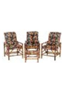 Conjunto Mesa E 3 Cadeiras De Bambu Cancun Para Área Edicula Jardim G36
