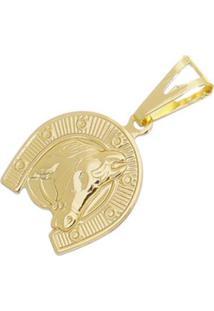 Pingente Cara De Cavalo Tudo Joias Folheado A Ouro 18K - Masculino-Dourado