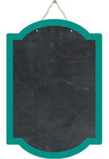 Quadro Decorativo Lousa De Giz Forma- Preto & Verde Águacia Laser
