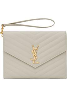 Saint Laurent Monogram Quilted Clutch Bag - 9207 -Crema Soft