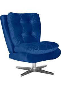 Poltrona Decorativa Tolucci Suede Azul Royal Com Base Giratória Em Aço Cromado - D'Rossi