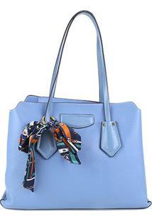 Bolsa Jorge Bischoff Tote Shopper Com Lenço Feminina - Feminino-Azul