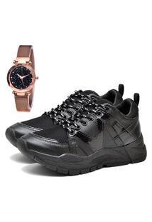 Tênis Sapatênis Plataforma Elegant Com Relógio Gold Feminino Dubuy 732La Preto