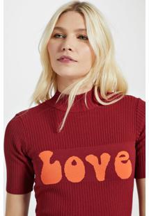 Blusa De Tricot Love Vermelho Disco - G