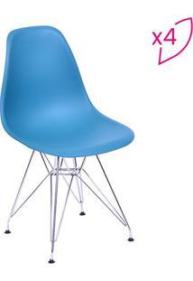 Jogo De Cadeiras Eames Dkr- Azul Petróleo & Prateadoor Design