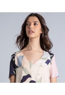 Blusa Estampada Decote V Leaves - Lez A Lez