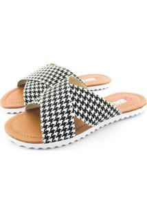 Rasteira Quality Shoes Feminina 008 Quadriculado Preto E Branco 40 40