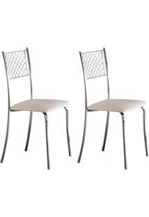 Conjunto Com 2 Cadeiras Têmis Branco E Cromado