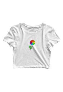 Blusa Blusinha Cropped Tshirt Camiseta Feminina Flor Lgbt Branco