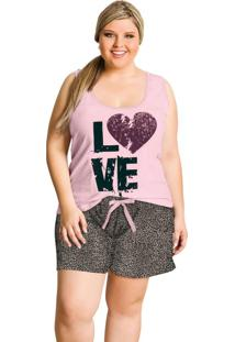 Pijama Plus Size Rosa Bebê E Onça