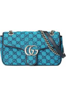 Gucci Small Gg Marmont Multicolor Shoulder Bag - Azul