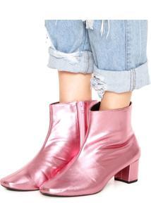 Bota Dafiti Shoes Metalizada Rosa
