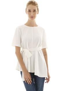 Blusa Aha Assimétrica Com Laço Off- White Aha - Kanui