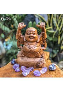 Escultura Buda Feliz Em Madeira - Bali