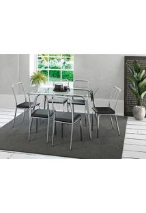 Conjunto De Mesa Com 6 Cadeiras Para Sala De Jantar Olivia-Carraro Móveis - Incolor / Cromado / Preto