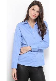 Camisa Social Facinelli Manga Longa Feminina - Feminino-Azul