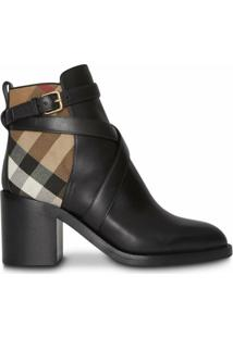 Burberry House Check And Leather Ankle Boots - Preto