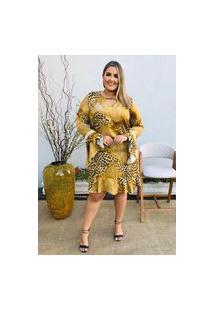 Vestido Feminino Mac-Lu Curto Oncinha Manga Longa Flare Linha Premium Mostarda Athenas