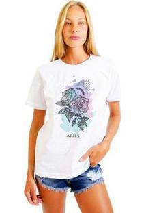 Camiseta Joss Feminina Estampada Signo Aries - Feminino-Branco