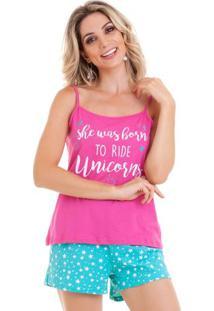 Pijama Short Doll Regata Pink Estrelas Feminino Com Algodão Luna Cuore
