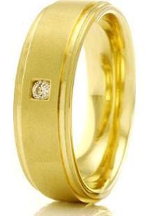 Aliança De Casamento Feminina Em Ouro 18K 750 Wm Joias 5,5Mm Com Zircônia F2337 - Feminino-Dourado