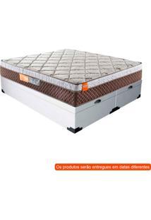 Cama Box Queen Premium Com Colchão Queen Albany Molas Ensacadas Marrom E Branca