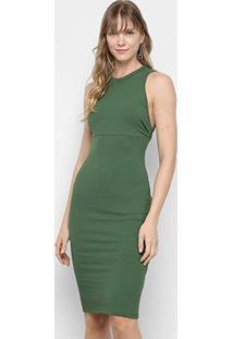 Vestido Colcci Tubinho Midi Regata Canelado - Feminino-Verde Claro