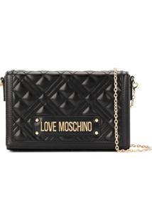 Love Moschino Bolsa Transversal Matelassê Com Logo - Preto