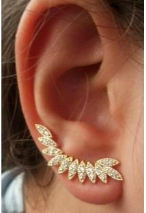 Brinco Ear Cuff Folhas Dourado - Feminino-Dourado